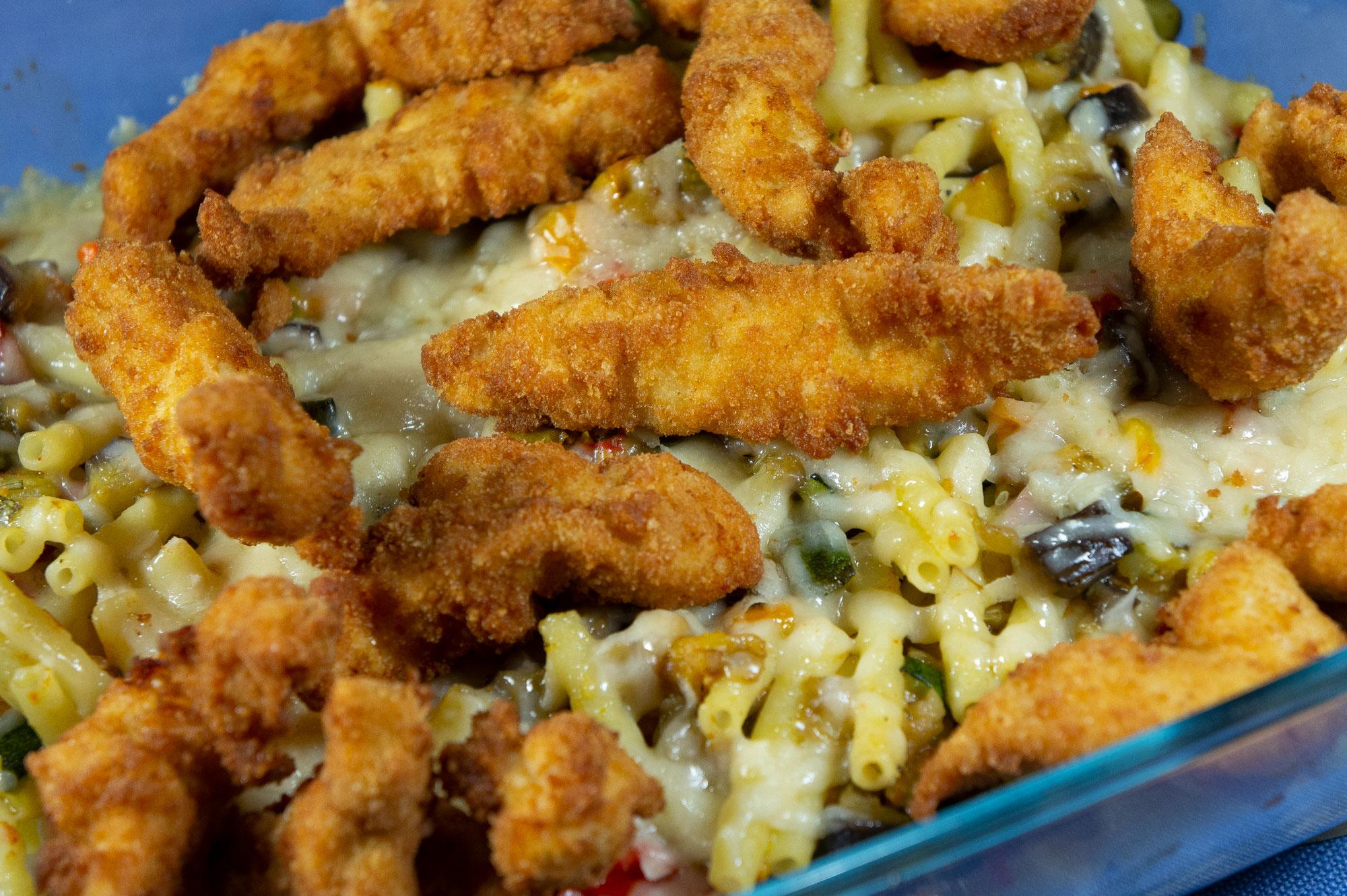 Hähnchenspitzel, Gemüse, Pasta