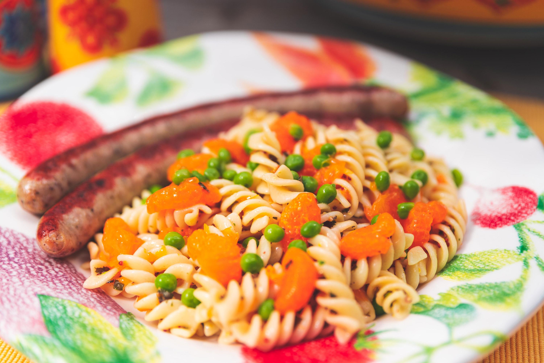 Nudelsalat Reloaded, Nudelsalat mit Mandarinen und Erbsen